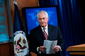 U.S. Secretary of State Rex Tillerson leaves a briefing on North Korea at the State Department on Aug. 22, 2017 (Brendan Smialowski   /AFP/Getty Images)