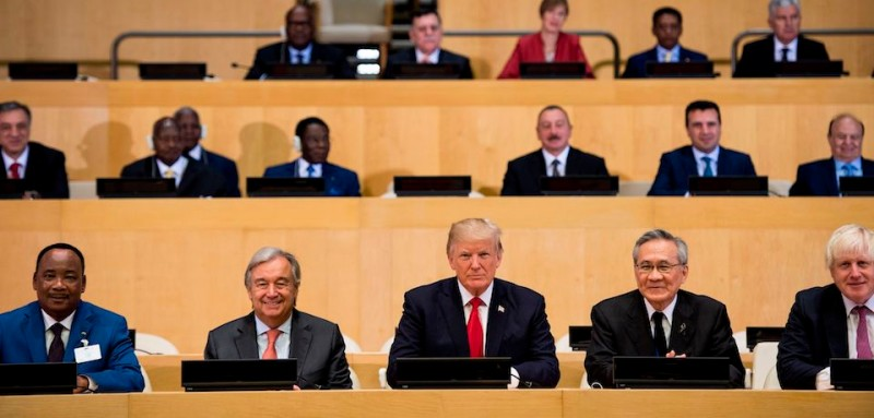 U.N. Secretary-General Antonio Guterres, U.S. President Donald Trump, and others before a meeting on U.N. reform at the U.N. headquarters in New York City on Sept. 18, 2017. (Brendan Smialowski/AFP/Getty Images)