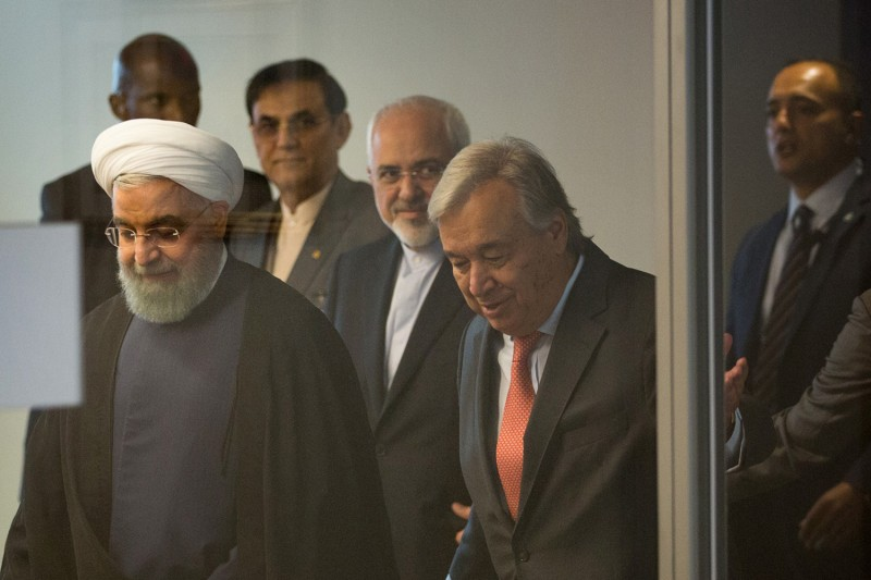 U.N. Secretary-General Antonio Guterres, right, and Iranian President Hassan Rouhani at U.N. headquarters in New York on Sept. 18. (Kevin Hagen/Getty Images)