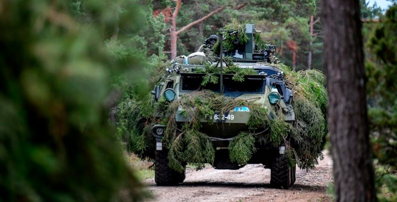 A Finnish armored terrain vehicle during an ongoing military exercise on the Swedish island Gotland on September 19. (Anders Wiklund/AFP/Getty Images)