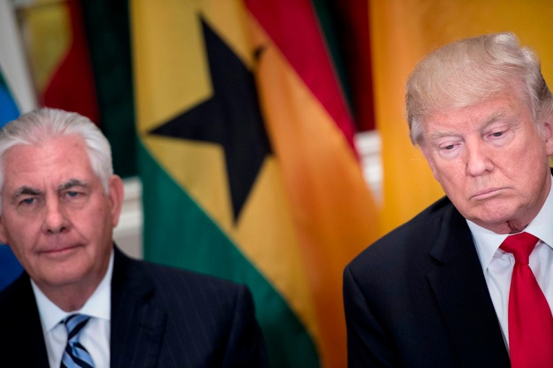 U.S. Secretary of State Rex Tillerson and President Donald Trump attend a luncheon with African leaders in New York on Sept. 20. (Brendan Smialowski/AFP/Getty Images)