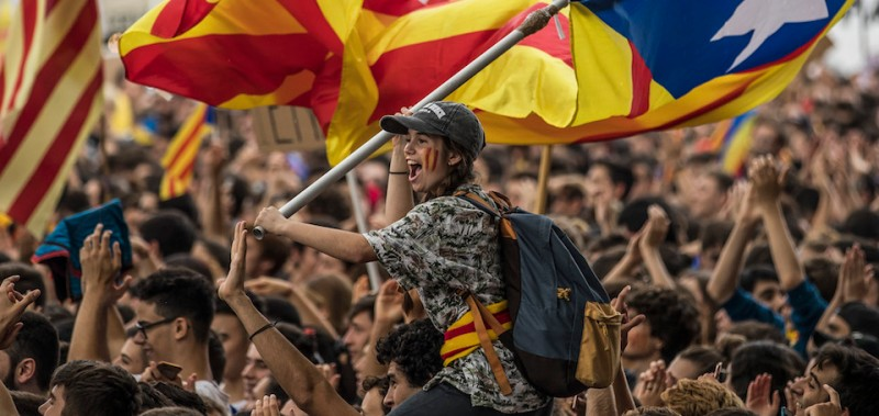 Students demonstrate in favor of Catalonian independence in Barcelona (Dan Kitwood/Getty Images)
