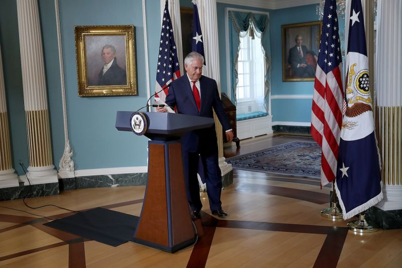 U.S. Secretary of State Rex Tillerson departs after  delivering a statement at the State Department on Oct. 4, 2017. (Win McNamee/Getty Images)