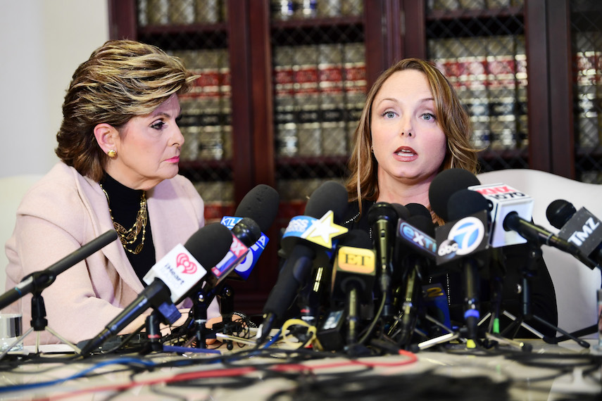 LOS ANGELES, CA - OCTOBER 10:  Attorney Gloria Allred and her client Louisette Geiss speak during a press conference about her client's allegations of sexual harassment by Harvey Weinstein at Allred's office October 10, 2017 in Los Angeles, California.  Weinstein has been accused of sexual harassment by multiple women.  (Photo by Emma McIntyre/Getty Images)