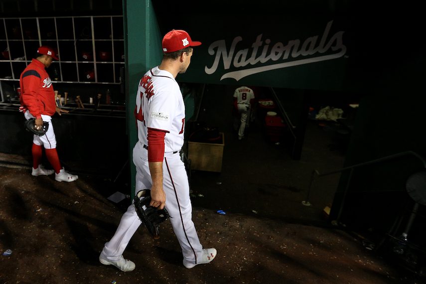 WASHINGTON, DC - OCTOBER 13: Ryan Zimmerman #11 of the Washington Nationals walks into the clubhouse after losing to the Chicago Cubs in game five of the National League Division Series at Nationals Park on October 13, 2017 in Washington, DC. (Photo by Patrick Smith/Getty Images)