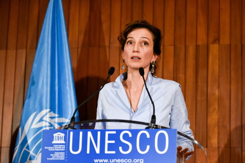 Audrey Azoulay, candidate for UNESCO director-general, delivers a speech at UNESCO headquarters in Paris on Oct. 13. (Chen Yichen/Xinhua via Getty Images)