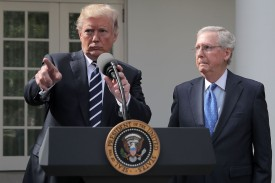President Donald Trump holds a press conference with Senate Majority Leader Mitch McConnell (R-Ky.) in the White House Rose Garden on Oct. 16. (Chip Somodevilla/Getty Images)