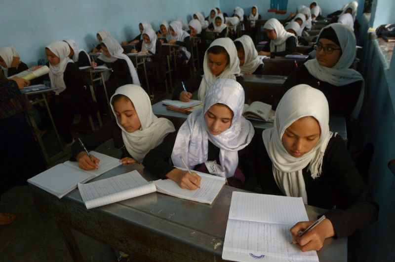 Afghan girls at school in Herat province on Oct. 17. (Hoshang Hashimi/AFP/Getty Images)