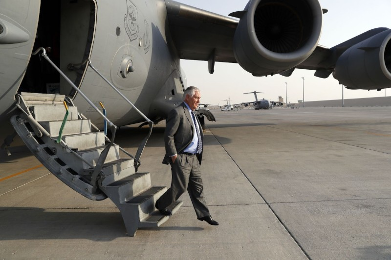 U.S. Secretary of State Rex Tillerson arrives in Qatar on Oct. 23 — one leg of a trip to Saudi Arabia, Qatar, Afghanistan, Iraq, Pakistan, India, and Switzerland.