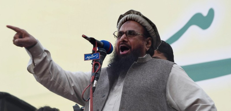 Hafiz Muhammad Saeed, head of Jamaat-ud-Dawa (JuD) addresses demonstrators on Kashmir Solidarity day in Lahore on February 5, 2015. (Arif Ali/AFP/Getty Images)