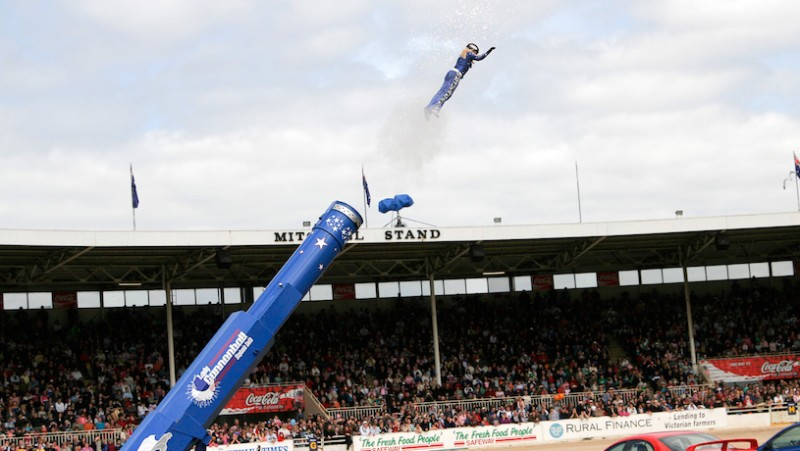 Stephanie Smith, human cannonball at the Royal Melbourne Show, 2005. (WIkimedia Commons)
