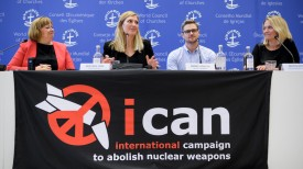 (From L) World Council of Churches (WCC) spokeswoman Marianne Ejdersten, Nuclear disarmament group International Campaign to Abolish Nuclear Weapons (ICAN) executive director Beatrice Fihn, ICAN coordinator Daniel Hogstan and ICAN member of the steering committee Grethe Ostern attend a press conference after ICAN won the Nobel Peace Prize for its decade-long campaign to rid the world of the atomic bomb on October 6, 2017 in Geneva. (Fabrice Coffrini/AFP/Getty Images)