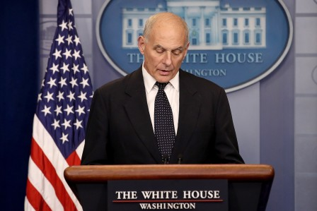White House Chief of Staff John Kelly speaks during a White House briefing Oct. 19 in Washington, D.C. (Win McNamee/Getty Images)