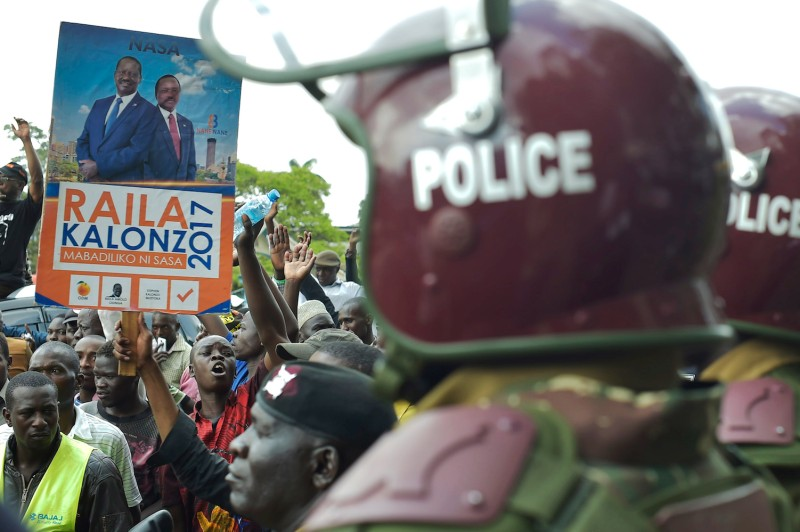Supporters of the Kenyan opposition National Super Alliance during a demonstration in Nairobi on Oct. 11. (Simon Maina/AFP/Getty Images)