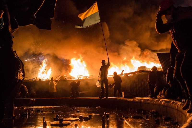 Anti-government protesters guard the perimeter of Independence Square, known as Maidan, on February 19, 2014 in Kiev, Ukraine. (Brendan Hoffman/Getty Images)