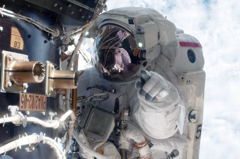 NASA astronaut Mike Fossum, Expedition 28 flight engineer during a planned six-and-a-half-hour spacewalk Jul. 12, 2011. (NASA via Getty Images)