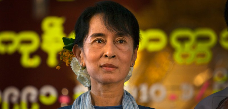 Aung San Suu Kyi at 20th anniversary ceremonies honoring her winning the Nobel Peace prize December 10, 2011 in Yangon, Myanmar. (Paula Bronstein /Getty Images)
