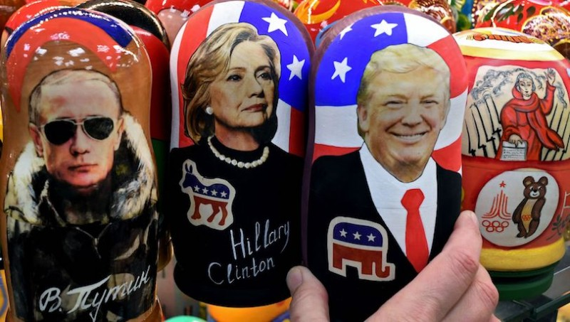 Traditional Russian wooden nesting dolls depicting Russia's President Vladimir Putin, U.S. Democratic presidential nominee Hillary Clinton and then- U.S. Republican presidential nominee Donald Trump on sale at a gift shop in central Moscow on Nov. 8, 2016.  (Kirill Kudryavtsev/AFP/Getty Images)