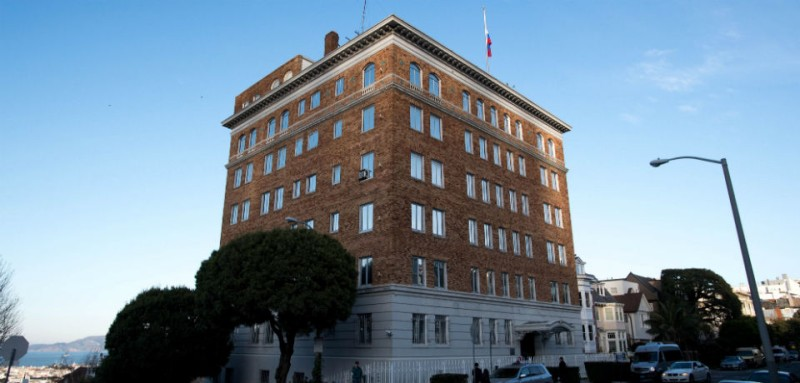 The Russian general consulate in San Francisco in Dec. 2016. / JOSH EDELSON / AFP / Getty Images