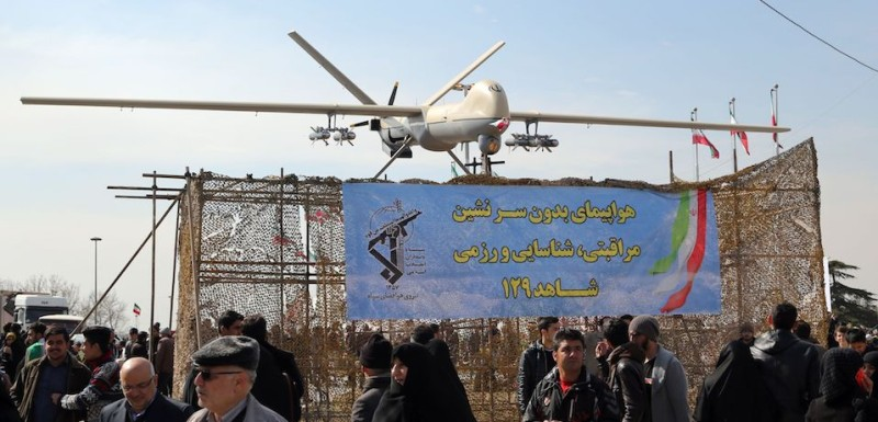 An Iranian Shahed 129 drone displayed during celebrations in Tehran marking the 37th anniversary of the Islamic revolution on February 11, 2016. (Atta Kenare/AFP/Getty Images)