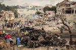 The scene of an exploded truck bomb in the Somali capital of Mogadishu on Oct. 14. (Mohamed Abdiwahab/AFP/Getty Images)