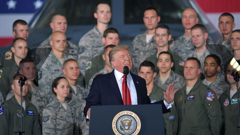 U.S. President Donald Trump speaks to members of the military at Joint Andrews Air Force base, Maryland on September 15.     MANDEL NGAN/AFP/Getty Images