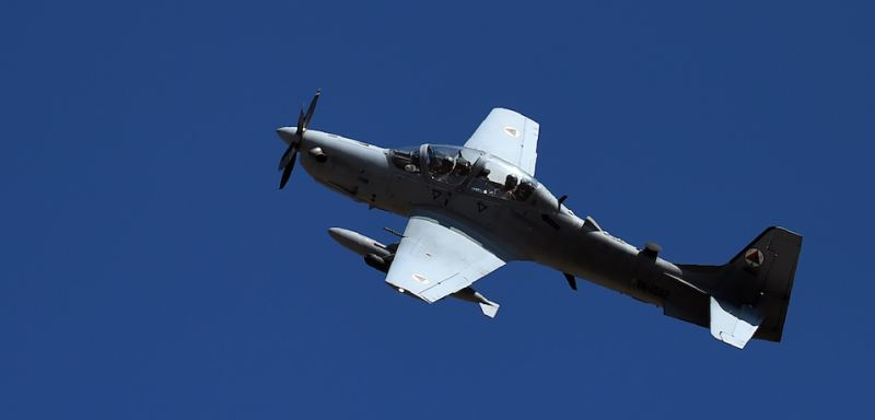 An Afghan Air Force Embraer A-29 Super Tucano aircraft during a training mission on the outskirts of Logar province, Afghanistan. (WAKIL KOHSAR/AFP/Getty Images)