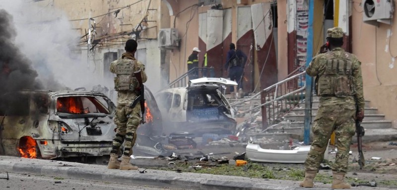 The aftermath of a car bomb in Mogadishu in July (STR/AFP/Getty Images).