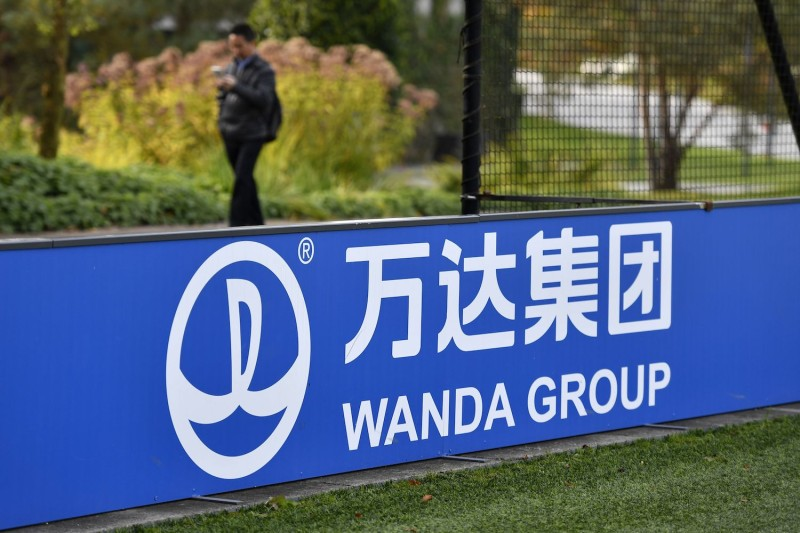 The sign and logo of Wanda Group, a Chinese multinational conglomerate corporation and FIFA partner, on Oct. 13, 2016 at FIFA headquarters in Zurich. (Fabrice Coffrini/AFP/Getty Images)
