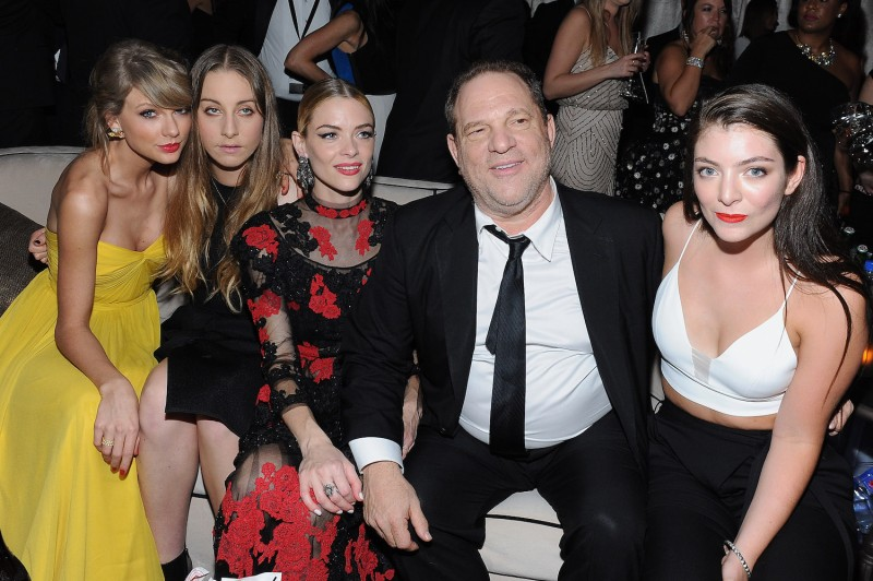 Recording artist Taylor Swift, musician Este Haim, actress Jaime King, producer Harvey Weinstein, and recording artist Lorde attend The Weinstein Company and Netflix's 2015 Golden Globes After Party at the Beverly Hilton Hotel on Jan. 11, 2015 in Beverly Hills, California.  (Angela Weiss/Getty Images)