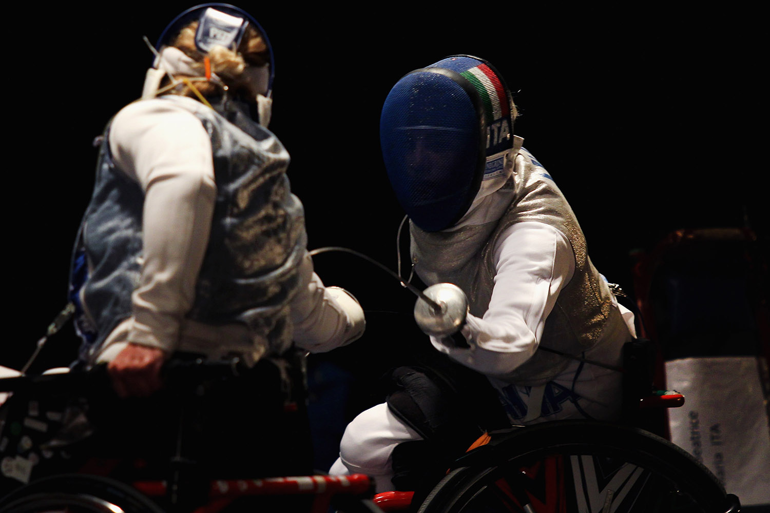Beatrice Vio (right) of Italy competes with Irma Khetsuriani of Georgia in the Women's Quarter-Final match foil fencing during the IWAS Wheelchair Fencing World Championships on Nov. 8  in Rome, Italy. Paolo Bruno/Getty Images