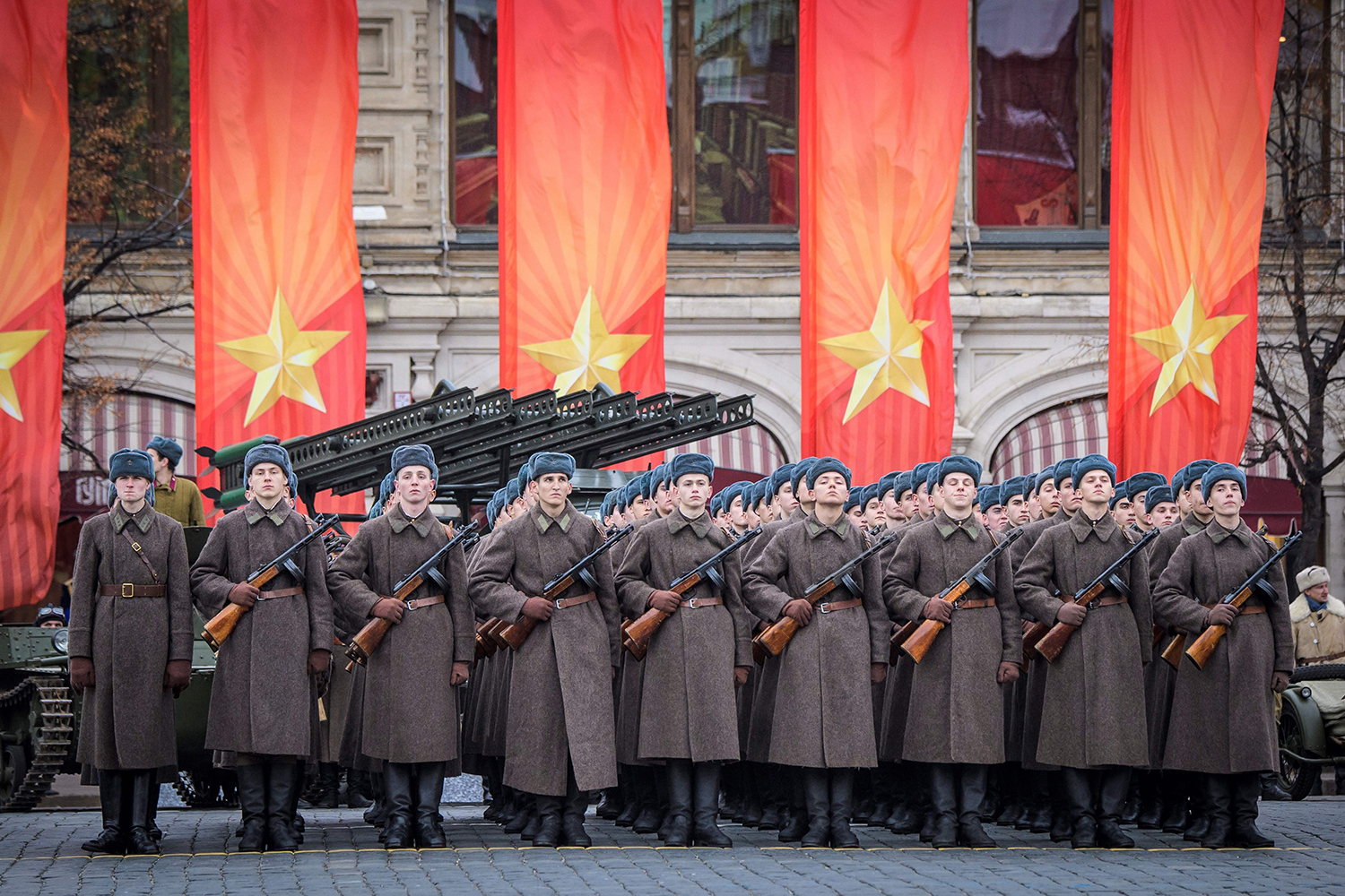 Russian servicemen dressed in historical uniforms take part in the military parade at Red Square in Moscow on Nov. 7. Mladen Antonov/AFP/Getty Images