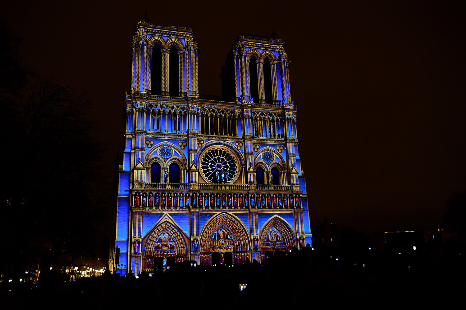 Notre-Dame de Paris cathedral is illuminated during a light show as part of the commemorations marking the centenary of the World War I, on Nov.  9. Martin Bureau/AFP/Getty Images