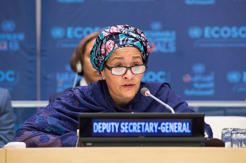 U.N. Deputy Secretary-General Amina J. Mohammed speaks at the U.N. in February. (Devra Berkowitz/U.N. Photo)