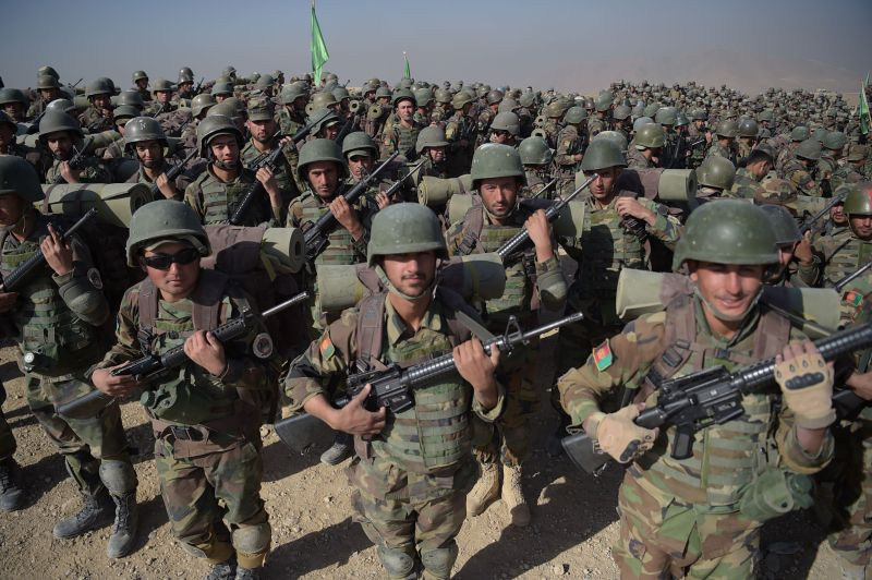 Afghan National Army soldiers march during a military exercise on Oct. 17. (Shah Marai/AFP/Getty Images)