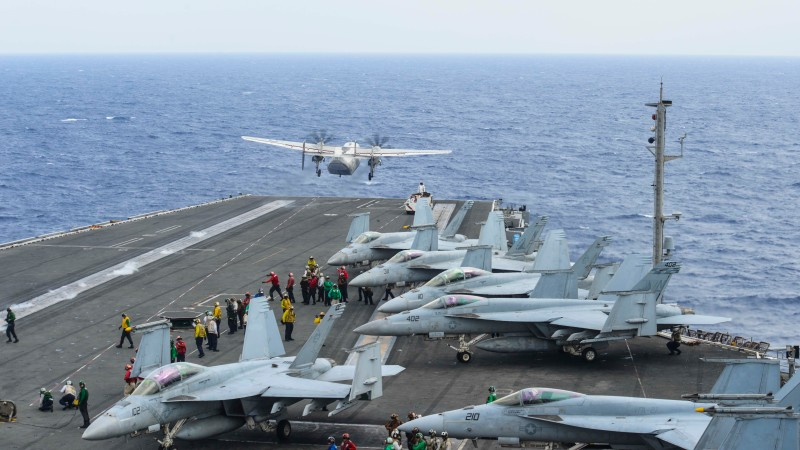 A C-2A Greyhound  launches from the USS Ronald Reagan on Nov. 17. (U.S. Navy)
