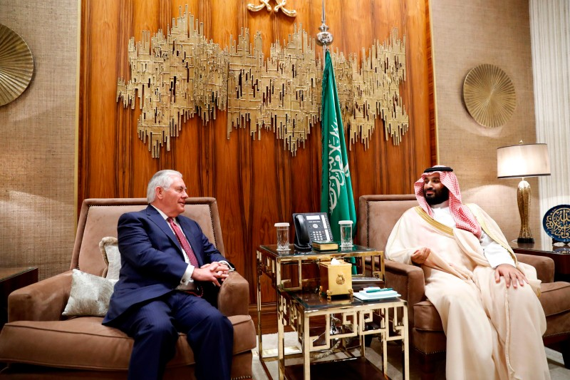 Secretary of State Rex Tillerson meets with Saudi Crown Prince Mohammed bin Salman in Riyadh on October 22. (Alex Brandon/AFP/Getty Images)