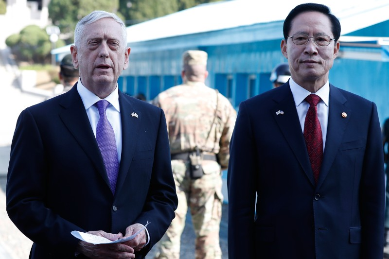 Secretary of Defense James Mattis talks with South Korean Defense Minister Song Young-moo in the Demilitarized Zone on October 27. (Jeon Heon-Kyun-Pool/Getty Images)