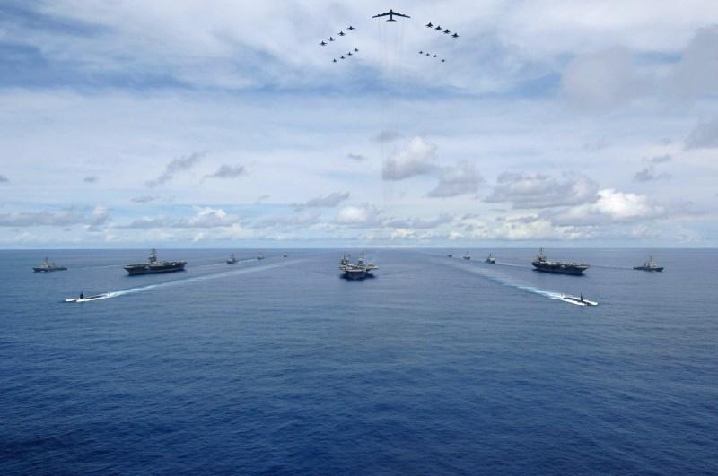 USS Nimitz , USS Kitty Hawk. and USS John C. Stennis near Guam, August 14, 2007. (U.S. Navy)