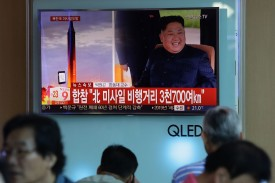 Television broadcasts a North Korean missile launch on September 15, in Seoul, South Korea.  (Chung Sung-Jun/Getty Images)