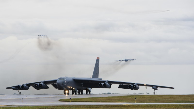 Replacing aging nuclear-capable infrastructure will run over a trillion dollars in the coming years. B-52s drill on Sept. 16, 2016. (U.S. Air Force)