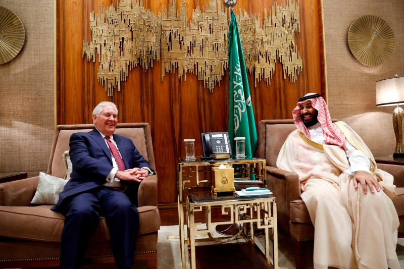 US Secretary of State Rex Tillerson meets with Saudi Crown Prince Mohammed bin Salman in Riyadh on October 22. (Alex Brandon /AFP/Getty Images)