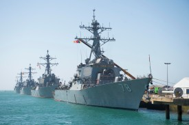 The Arleigh Burke-class guided-missile destroyers USS Porter, Donald Cook, Carney, and Ross at Naval Station Rota, Spain on June 13. (U.S. Navy)