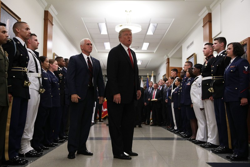 President Donald Trump after a meeting at the Pentagon on July 20. (Alex Wong/Getty Images)