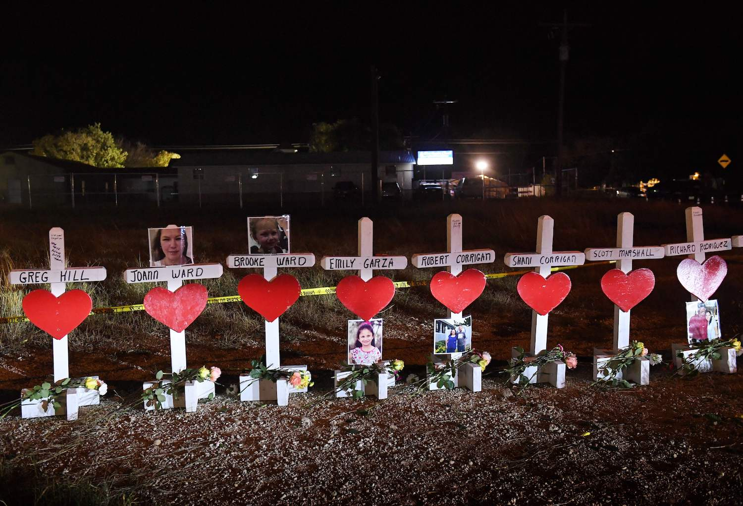Crosses with the names of victims are seen outside the First Baptist Church which was the scene of the mass shooting that killed 26 people in Sutherland Springs, Texas on Nov. 8. (Mark Ralston/AFP/Getty Images)