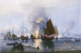 The East India Company's iron steamship, Nemesis, destroying Chinese war junks at the Second Battle of Chuenpi on Jan. 7, 1841. (Wikimedia Commons)