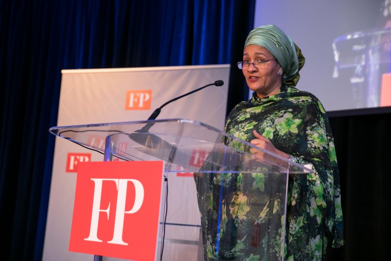Amina J. Mohammed gives a speech at FP's annual Diplomat of the Year Awards. (Jason Dixson Photography)