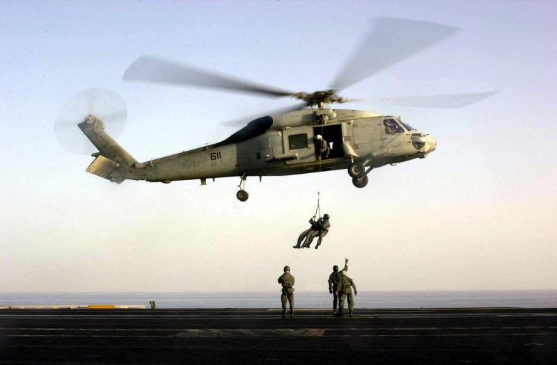 U.S. Navy SEALs train  on the flight deck of USS Enterprise. (Lance H. Mayhew Jr./US Navy/Getty Images)