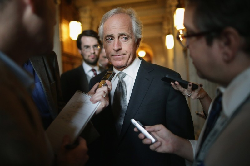 Sen. Bob Corker (R-TN) talks with reporters in Washington D.C. on Nov. 3, 2015. (Chip Somodevilla/Getty Images)
