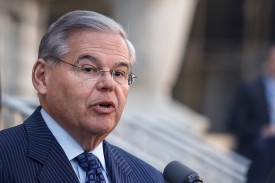 Senator Robert Menendez speaks outside federal court after he was indicted on corruption charges on April 2, 2015 in Newark, New Jersey. (Kena Betancur/Getty Images)